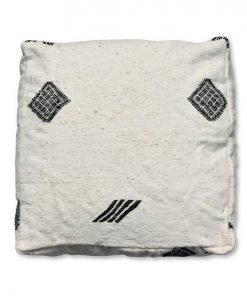 berber kilim pouf white and black with symbols