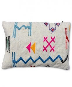 berber pillow white with colored symbols