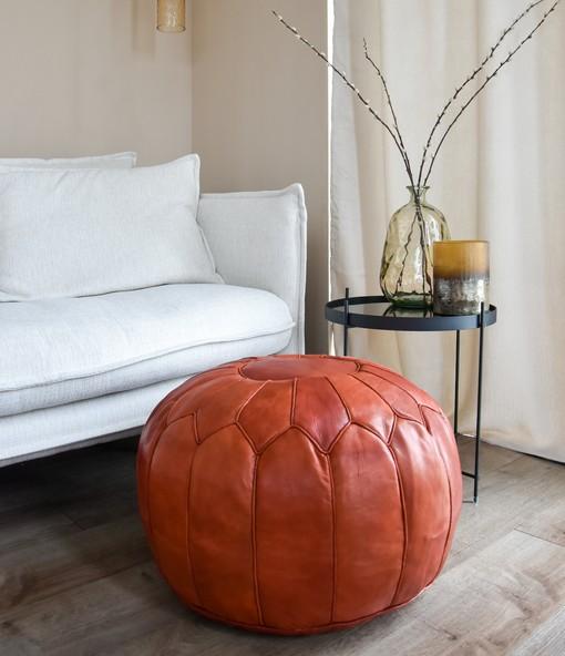 premium copper brown pouf interior