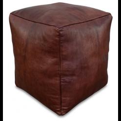 Square pouf brown