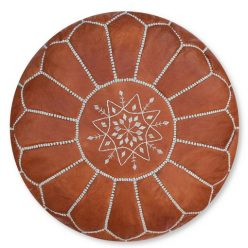 leather pouf terra brown