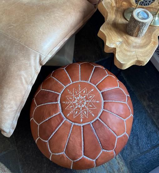 leather pouf terra brown sofa