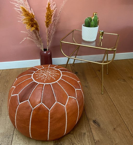 moroccan leather pouf terra brown interior