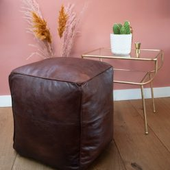square leather pouf dark brown