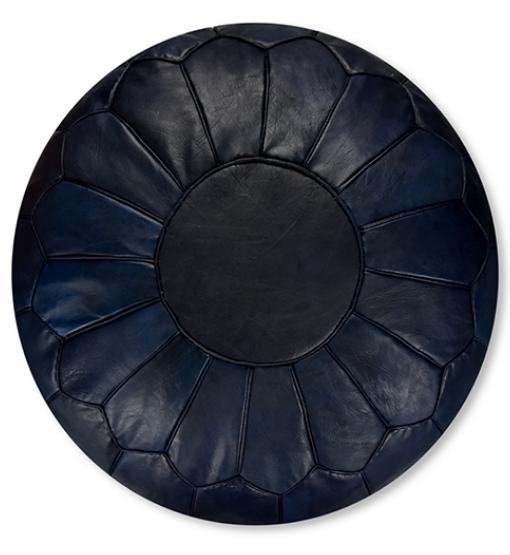 Moroccan leather pouf dark blue