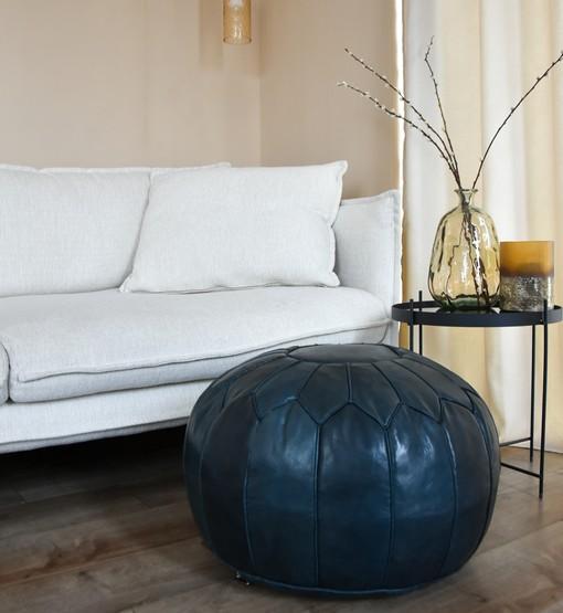 premium dark blue leather pouf interior