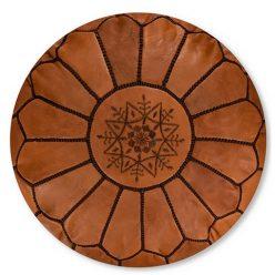 leather pouf caramel brown