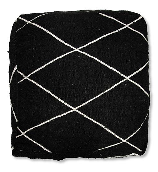 moroccan beni ourain floor cushion black and white