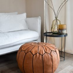 leather pouf caramel brown interior