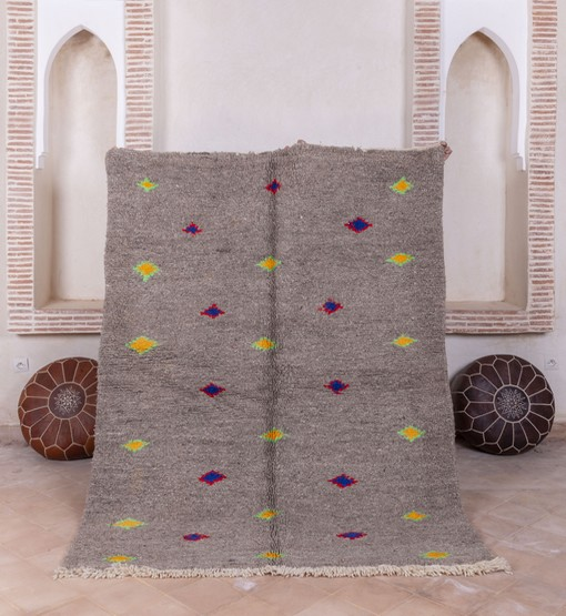 berber azilal rug with poufs