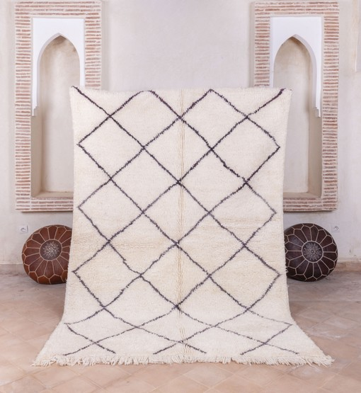 berber beni ourain rug with poufs