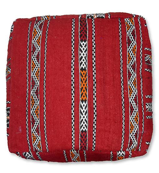 moroccan berber kilim pouf red