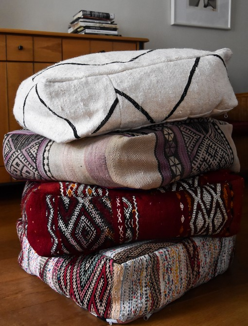 moroccan berber kilim poufs
