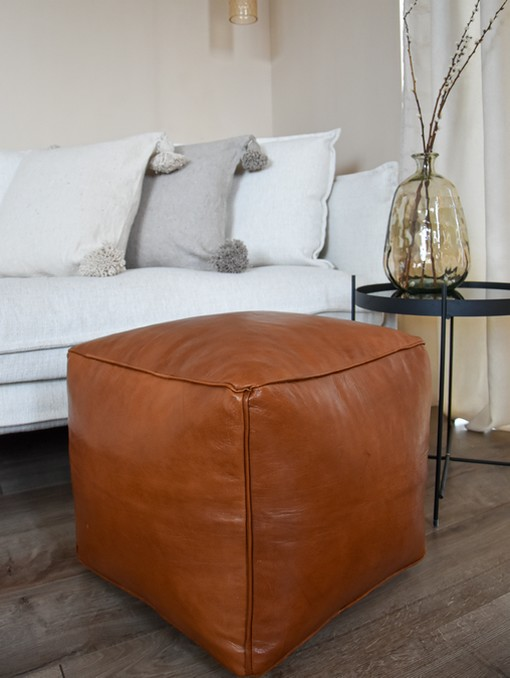 square caramel brown leather pouf