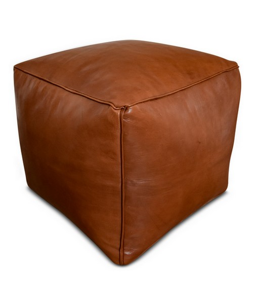 square leather pouf caramel brown