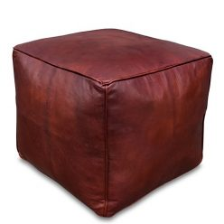 square leather pouf chestnut brown