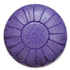 moroccan leather pouf purple