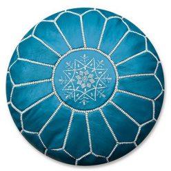 moroccan leather pouf ocean blue